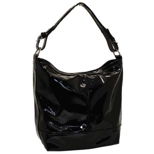 Жіноча сумка із цупкого лакованого шкірзамінник