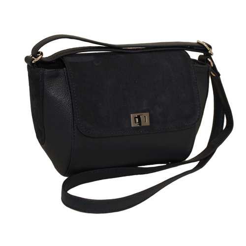 """Жіноча сумочка невеликого розміру створена українським виробником ТМ """"LucheRino"""". Виготовлена з високоякісного шкірзамінника та натурального замшу. Тверді стінки з металевими ніжками на дні. Один довгий регульований ремінець. Одне відділення з двома кишенями."""