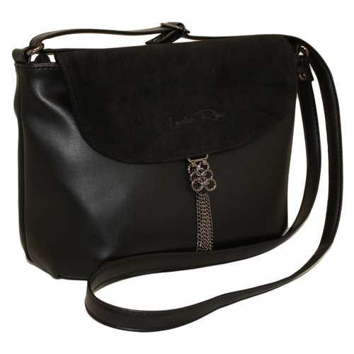 Оригінальна жіноча сумка зі шкірзамінника.Декорована вставкою з натуральної замші та стильною металевою прикрасою. Зачиняється на блискавку та металевий клапан