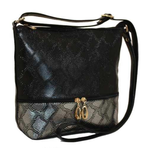 """Гарна жіноча сумка з високоякісного текстурованого шкірзамінника - пітон. Зручна модель представлена українською торгівельною маркою ТМ """"Камелія"""". Передня панель декорована горизонтальною блискавкою. Довгий регульований ремінець. Одне комфортне відділення з додатковими кишенями."""