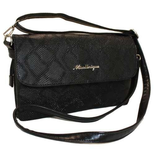 Стильна компактна сумочка з шкірозамінника високої якості у текстурі - пітон, з двома відділеннями на блискавці під двома клапанами. Довгий регульований ремінець. Вшиті вмісткі кишені створені для більшої зручності під час використання