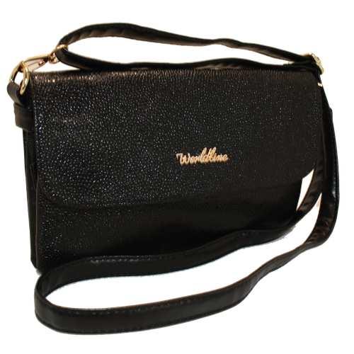 Стильна компактна сумочка з шкірозамінника високої якості у текстурі - ікра, з двома відділеннями на блискавці під двома клапанами. Довгий регульований ремінець. Вшиті вмісткі кишені створені для більшої зручності під час використання